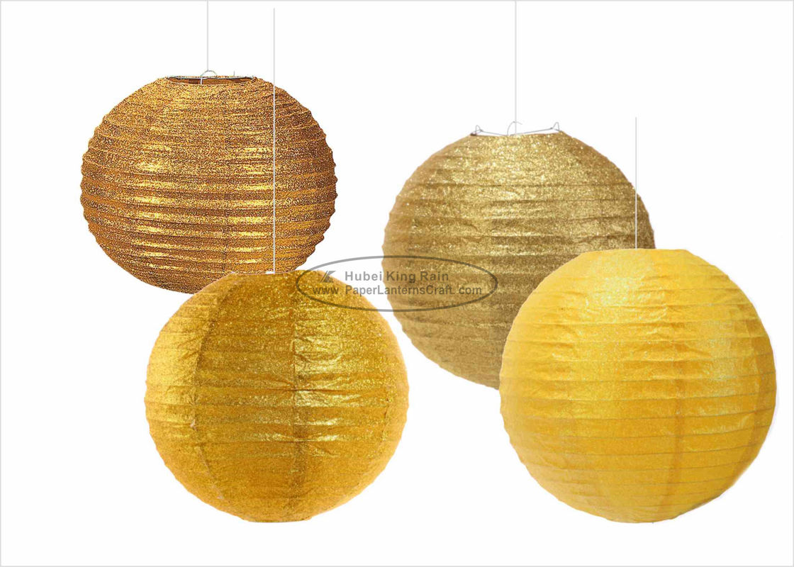 Glitter Powder Shiny Round Paper Lanterns , 14 Inch Paper Lanterns For Indoors