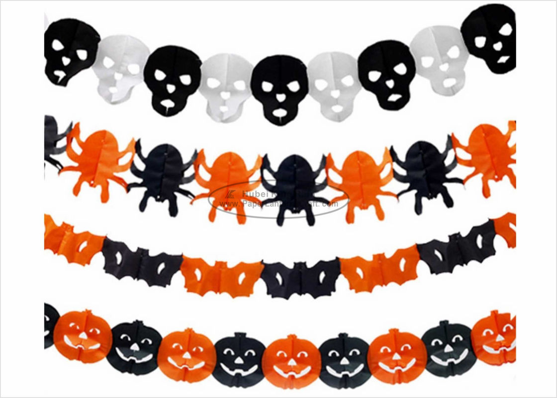 CE Certificate Paper Halloween Decorations Pumpkin Diy Tissue Paper Garland