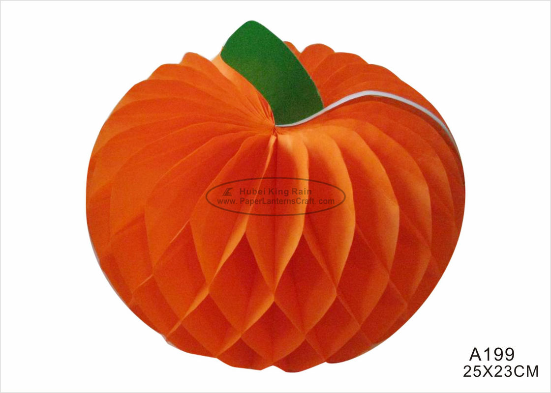 12 Inch Tissue Paper Halloween Decorations With Pumpkin Honeycomb Orange Black
