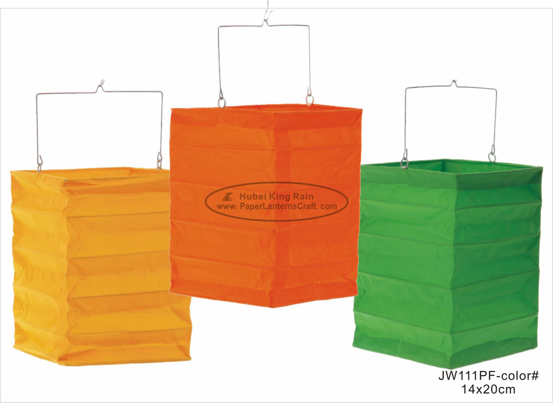 Orange Green Square Hanging Paper Lanterns 13 X 20 Cm For Party Decoration